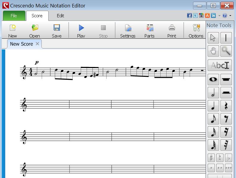 Velmi pěkný, jednoduchý a intuitivní program na psaní not ...